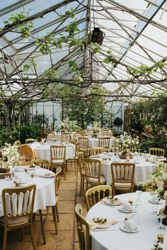 Glasshouse Reception Venue Greenhouse Wedding Kit Myers Photography wedding decor Botanical & Natural Greenhouse Wedding with a Modern Gold Twist