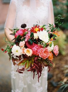 Dark Coral and Burgundy Bouquet | photography by http://annapetersphoto.com