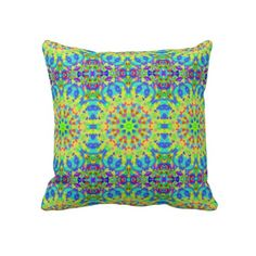 Multicolored Tiled Kaleidoscope Graphic Throw Pillows