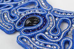 Unusual Wide Handmade Blue Soutache Wrist Bracelet with Crystal Beads for Gift   eBay
