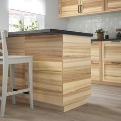 IKEA TORHAMN cover panel Visible variations in the wood grain; gives a warm, natural feeling. Kitchen Cupboard Designs, Rustic Kitchen Design, Kitchen Ideas, Cottage Kitchens, Home Kitchens, Style Shaker, Hickory Kitchen Cabinets, Kitchen Utensils Store, Kitchen