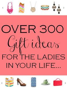 OVER 300 gift Ideas for the ladies in your life! Lots of black Friday deals too! http://www.theperfectpalette.com/2012/11/black-friday-discounts-deals-steals.html