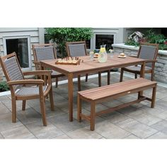 Enjoy contemporary style in your outdoor dining area with the Vineyard Kempton Eucalyptus 6 Piece Patio Dining Set with Wicker Arm Chairs . Wicker Dining Set, Wicker Chairs, Outdoor Dining Set, Dining Room Sets, Outdoor Tables, Outdoor Spaces, Outdoor Decor, Arm Chairs, Dining Furniture