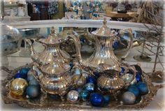 silver tea sets and Christmas bulbs, clever decorating. Christmas Home, Christmas Bulbs, Christmas Decorations, Christmas Ideas, Holiday Ideas, Winter Holidays, Happy Holidays, Happy Hannukah, Silver Tea Set