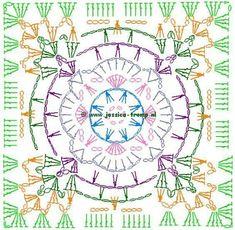Transcendent Crochet a Solid Granny Square Ideas. Inconceivable Crochet a Solid Granny Square Ideas. Crochet Squares, Crochet Mandala Pattern, Crochet Motifs, Crochet Blocks, Granny Square Crochet Pattern, Crochet Diagram, Crochet Art, Crochet Stitches Patterns, Crochet Granny