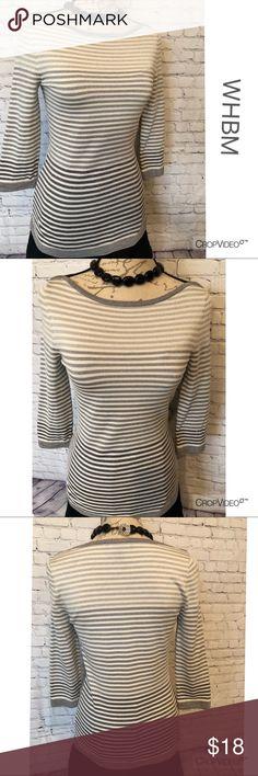 White House Black Market silver striped sweater XS White House Black Market silver, gray, white metallic thread striped sweater, size XS, excellent used condition White House Black Market Sweaters Crew & Scoop Necks