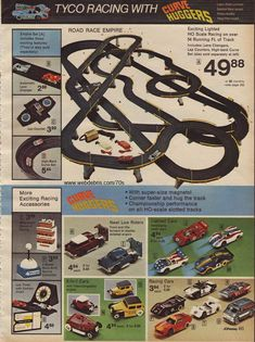 Remember when tyco slot cars, afx slot cars, vintage toys retro toys Tyco Slot Cars, Afx Slot Cars, Slot Car Racing, Slot Car Tracks, Race Tracks, Auto Racing, Christmas Catalogs, Christmas Books, Childhood Toys