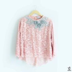 SOLD OUT TOP0093 (Soft Pink) Full Embellished Hi Low Lace Top Bust 96   Front Length 45   Back Length 65   Sleeve Length 50cm *Colors may appear slightly different due to lighting during photoshoot, pc/smartphone picture resolution, or individual monitor setting.