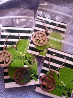 Order these darling Lucky Charm necklaces! Get them personalized with a name and date, Lucky girl, So Lucky, Irish, etc. Perfect for March! We accept PayPal and can ship anywhere. Cherimpress@gmail.com