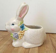 Vintage Easter Bunny Porcelain Ceramic Decorative Planter