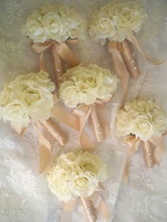 Want these for my bridal party! Love the light pink silk wrapped around stems