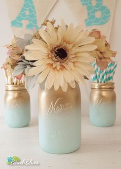 Boy Baby Shower Centerpiece Painted Mason Jars by BeachBluesBaby