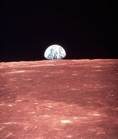 1968: Daddy's gone to the moon for Christmas. Earth rising by Apollo 8 in Moon orbit.