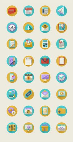 Flat Icon Set with Long Shadows. Diana Costin is a graphic designer specializing in illustration, layouts, animation, character design, mobile apps and UI