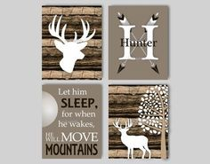 Baby Boy Nursery Art Rustic Nursery Art Deer Nursery Bedding Decor Woodland Nursery Let Him Sleep Camouflage Deer Print Choose Colors WD44251