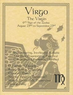 """A wonderful reference, the Virgo zodiac poster explores the qualities of the 6th sign of the zodiac. Parchment posters 8 12"""" x 11"""""""