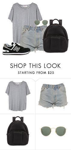 """Untitled #4364"" by ericacavaco12 ❤ liked on Polyvore featuring Organic by John Patrick, Levi's, Alexander Wang, Ray-Ban and New Balance"