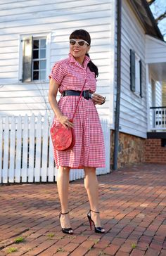 9ccd9d8e38b82 Gingham Dress and Ankle Strap Heels