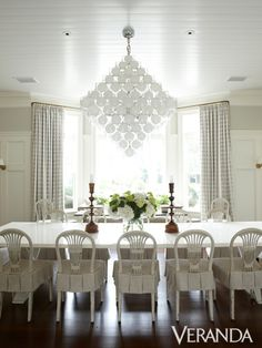 Love the seat slipcovers in this Timothy Whealon dining room (Veranda May/June 2012).  Photo by Melanie Acevedo.  Online at SIMPLY CHARMING: Small Pattern Design Ideas - Veranda.com