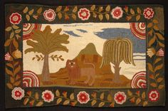 """""""Hooked Rug"""", 19th century.  Canadian. Wool. 36 x 56 in.  Gift of Mr. and Mrs. F. P. Burnap."""