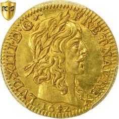 ➽ Ask us to find it for you : Coin France Louis XIII Louis d'or 1642 Paris PCGS Gold. Louis D'or, Royal King, Gold Money, French History, France, Coin Collecting, Gold Coins, Postage Stamps, Character Art