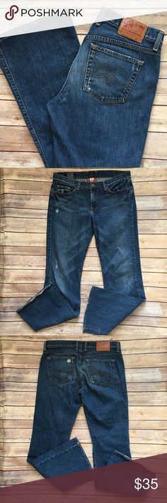 "Lucky Brand Jeans Sweet N Low Boot 10 30 x 31 Dark Tag Size - 10/30 Waist Measured Across - 16.5"" Inseam - 31"" Rise - 9"" Good used condition. Always open to reasonable offers. Lucky Brand Jeans Boot Cut"