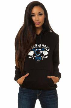 $59.20 nice Crooks and Castles Womens Black Roses Pullover Hooded Sweatshirt