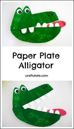 Sewing Craft Project This paper plate alligator is a snappy fun craft project for kids to make! - This paper plate alligator is a snappy fun craft project for kids to make! Paper Plate Crafts For Kids, Animal Crafts For Kids, Craft Projects For Kids, Toddler Crafts, Art For Kids, Activities For Kids, Kid Art, Art Projects, Kids Fun