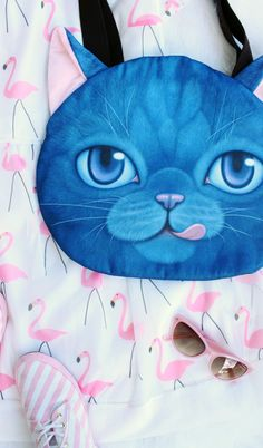Blue Big Eye Tongue Chartreux Cat Coin Purse - I know several people that would totally love this!
