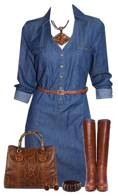 """Denim Dress"" by daiscat ❤ liked on Polyvore"