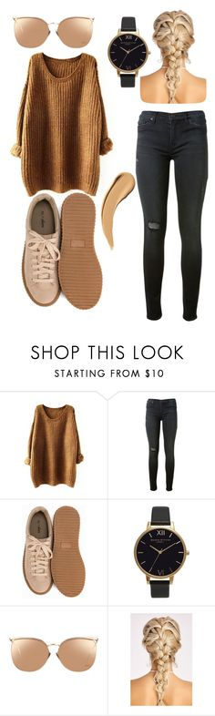 """""""Casual (:"""" by jasemin2607 ❤ liked on Polyvore featuring Hudson, Nly Shoes, Olivia Burton, Linda Farrow, brown, woman and polyvorefashion"""