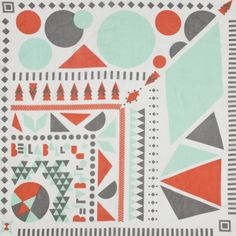 Geometry print in creme, mint, grey and coral #summer #fashion #accessories