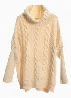 9b03ede2d4 Beige Oversized Turtleneck Cable Knit Sweater  jumper  winter  christmas   cozy Warm Sweaters
