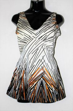 6a9ff0e48a2 Vintage MOD 1960 s OP ART Geo Print Bathing Suit Swimsuit Skirted Romper  White Black with a