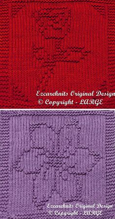Knitting Patterns for Rose or Blossom Cloth - Easy flower motifs for cloths, afghan blocks, or other knitting projects. Finished Size: X Designed by ezcareknits. You may sell any finished knitted item from this pattern. Knitted Squares Pattern, Knitted Dishcloth Patterns Free, Knitting Squares, Beginner Knitting Patterns, Animal Knitting Patterns, Knitted Washcloths, Knit Dishcloth, Knitting Projects, Crochet Patterns