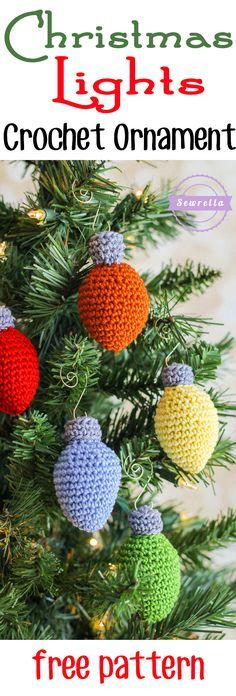 Christmas Lights Crochet Ornament | 25 Days of Christmas Traditions Crochet-a-Long | Free Pattern from Sewrella