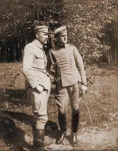Józef Piłsudski i jego adiutant Bolesław Wieniawa-Długoszowski World War I, Historical Photos, Patriots, Troops, Wwii, Military, Historia, Poland, Moon