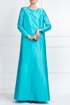 shantung-aqua-dress Boutique Shop, Dresses With Sleeves, Long Sleeve, Aqua, Shopping, Collection, Summer, Fashion, Gowns