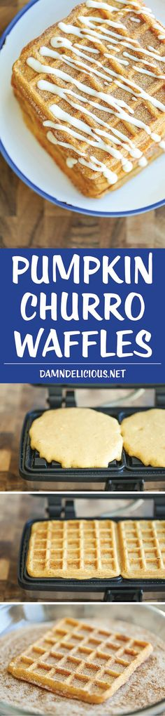 Pumpkin Churro Waffles - Light, fluffy, melt-in-your mouth pumpkin waffles coated in buttery cinnamon sugar and drizzled with a cream cheese glaze!
