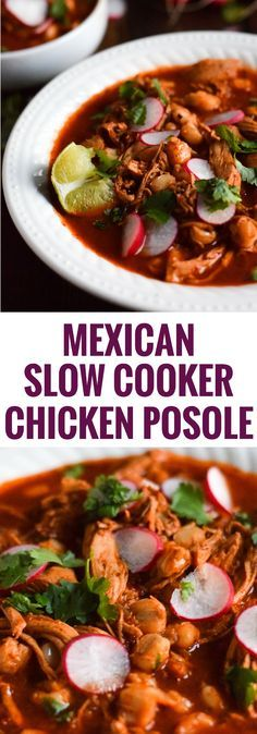 Made with shredded chicken and hominy in a comforting red chile broth, this Mexican Slow Cooker Chicken Posole is easy to make and full of authentic Mexican flavors. (gluten free)