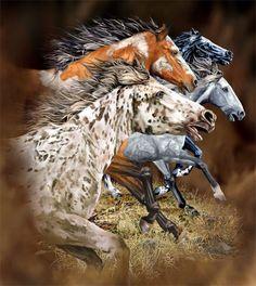 Wild Running Mustangs.