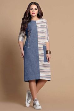 Picture Of Blue & Off-White Designer Pri - Womens Fashion - Marecipe African Fashion Dresses, African Dress, Hijab Fashion, Simple Dresses, Casual Dresses, Summer Dresses, Komplette Outfits, Fashion Outfits, Womens Fashion