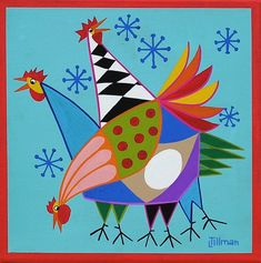 Mid Century Modern Eames Retro Limited Edition Print from Original Painting Three Hens Mid Century Modern Eames Retro Limited Edition Print de Original peinture trois poules Chicken Painting, Chicken Art, Gouache Painting, Fabric Painting, Painting Prints, Chickens And Roosters, Eames, Modern Cross Stitch Patterns, Hens