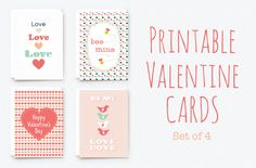"""Printable Valentine Cards ~~ A set of 4 printable valentine's day cards that come in .PDF and .AI file formats. Each file is sized to produce a single folded 4""""x6"""" card, which fits in standard A6 envelope. Crop marks are included."""