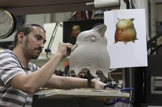 David Monzingo sculpts a strange little creature character named Blinky for a Cisco Systems commercial at Legacy Effects.