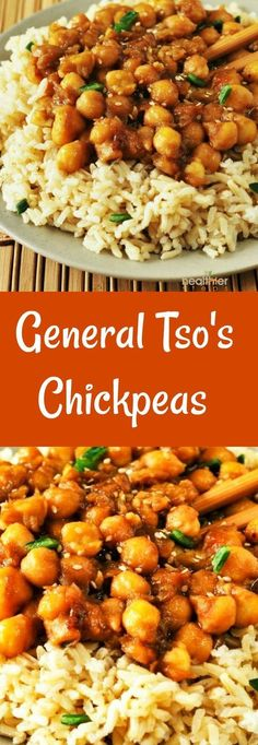 Tso's Chick Peas (Vegan, Gluten-Free) General Tso's Chickpeas, Vegan and Gluten-Free perfect Fake-away!General Tso's Chickpeas, Vegan and Gluten-Free perfect Fake-away! Veggie Recipes, Whole Food Recipes, Vegetarian Recipes, Cooking Recipes, Healthy Recipes, Mushroom Recipes, Free Recipes, Vegan Chickpea Recipes, Cheap Recipes