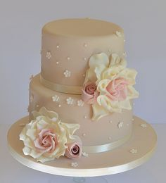 Two tier rose cake | by Hilary Rose Cupcakes