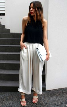 wavy ombre bob, red lipstick, sleeveless black top, cropped white pants & sandals #style #fashion