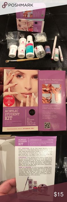 Acrylic student nail kit Acrylic student nail kit, only used ones. I did a terrible job on my first attempt and I decided it's not for me. Ladies it's your turn to try :) Other