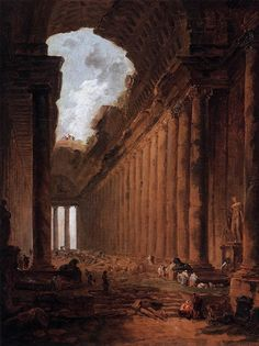 The Athenaeum - Ruin as Capriccio (Hubert Robert - ) Gustave Dore, Historical Art, Architecture Drawings, Classical Art, Beautiful Paintings, Oeuvre D'art, Traditional Art, Landscape Paintings, Landscapes